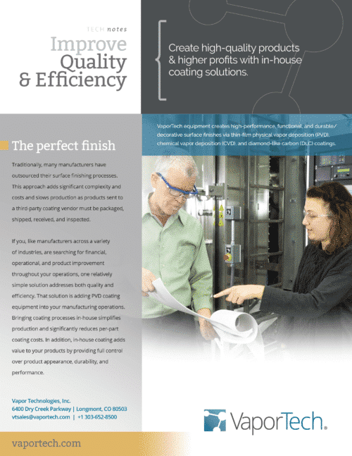 pvd coatings improve quality and efficiency